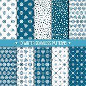 Monochrome seamless pattern with snowflakes