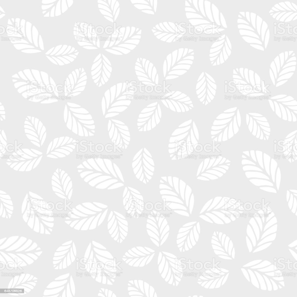 Monochrome seamless vector pattern with leaves vector art illustration