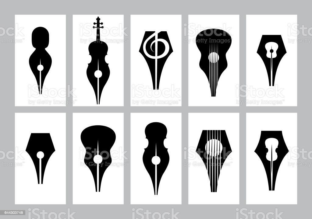 Monochrome Set De Templates Pour Carte De Visite Avec Nib Guitare