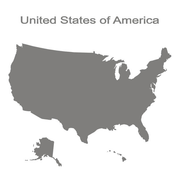 monochrome set with map of united states of america - north america maps stock illustrations, clip art, cartoons, & icons