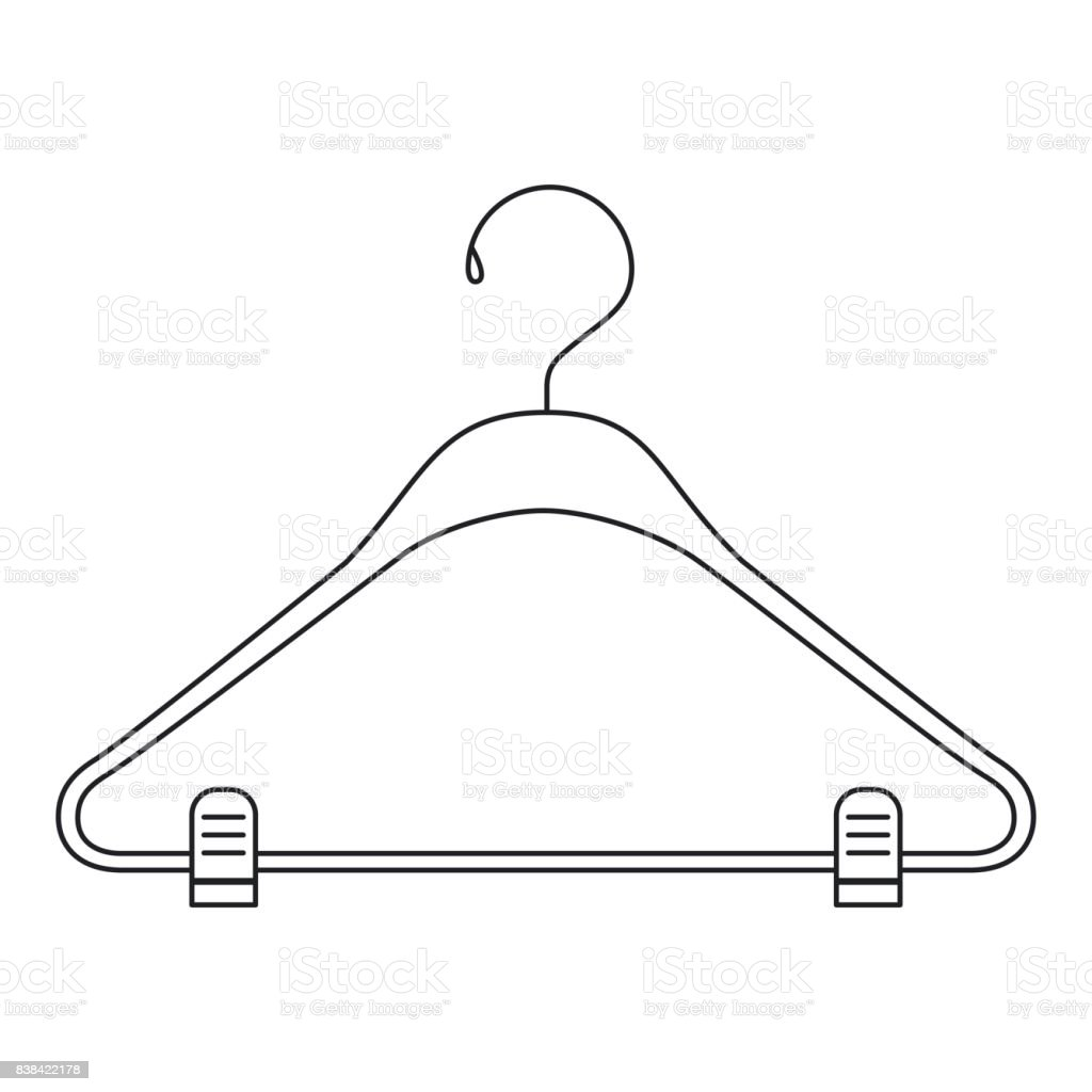 monochrome silhouette of clothes hanger vector art illustration