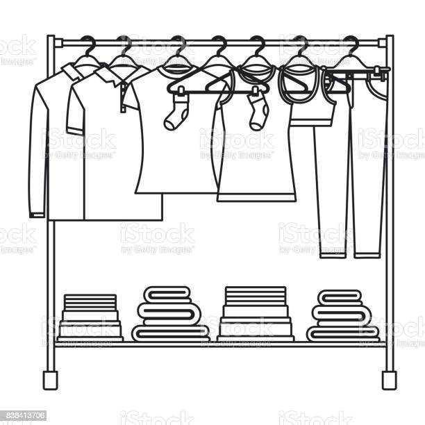 Monochrome silhouette of clothes rack with tshirts and pants on and vector id838413706?b=1&k=6&m=838413706&s=612x612&h=0a2mi2whwchp9qd1ico i8jrgcr0cxgl2xblyebnuis=