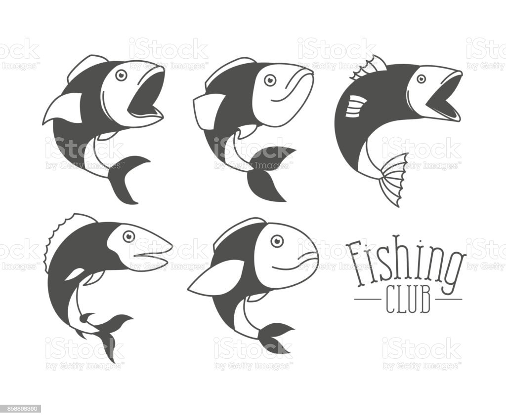 monochrome silhouette types fish and logo text fishing club vector art illustration