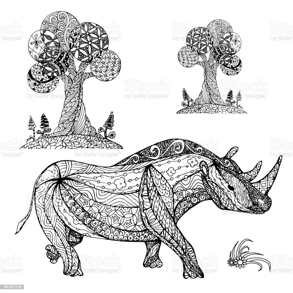 Monochrome Skizze Nashorn Bäume Färbung Seite Antistress Lager ...