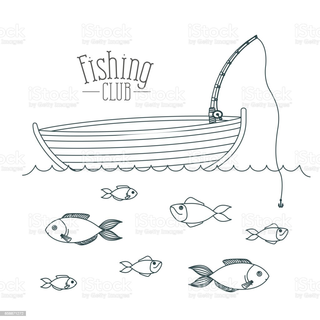 monochrome sketch silhouette boat fishing club and fish in the water vector art illustration