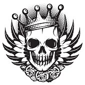 Monochrome skull with crown, wings and roses on white background.Vector illustration