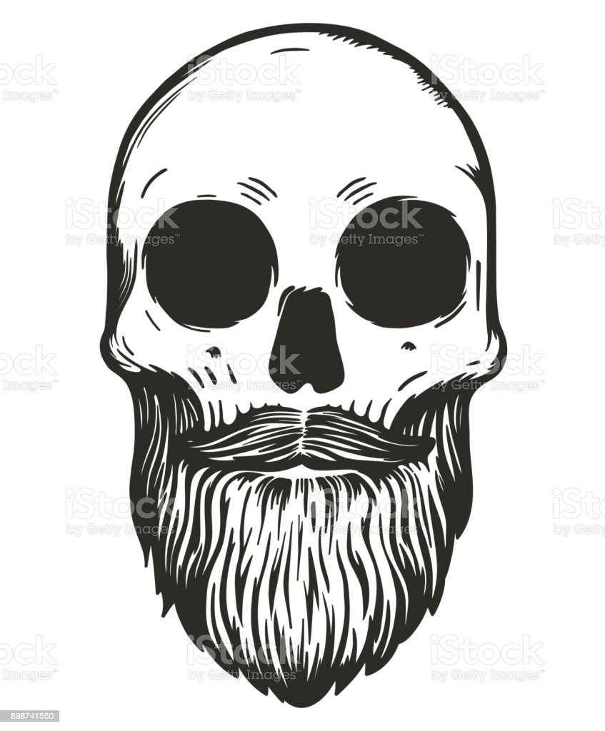 Monochrome Skull With Mustache And Beard