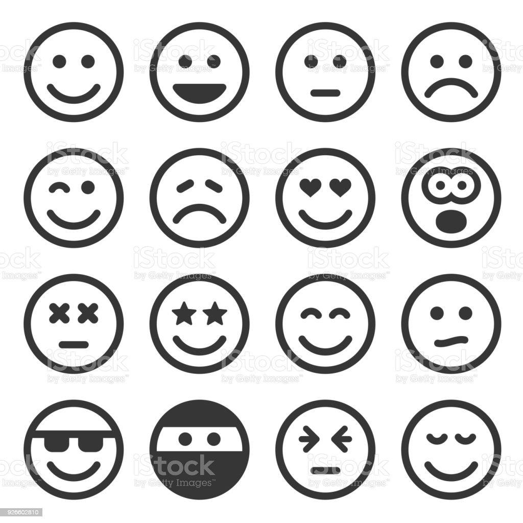 Sourire monochrome Set d'icônes sur fond blanc. Vector - clipart vectoriel de Adulte libre de droits