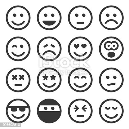Monochrome Smile Icons Set on White Background. Vector illustration