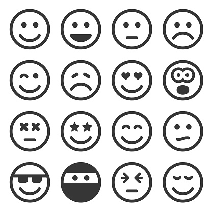 Monochrome Smile Icons Set on White Background. Vector clipart