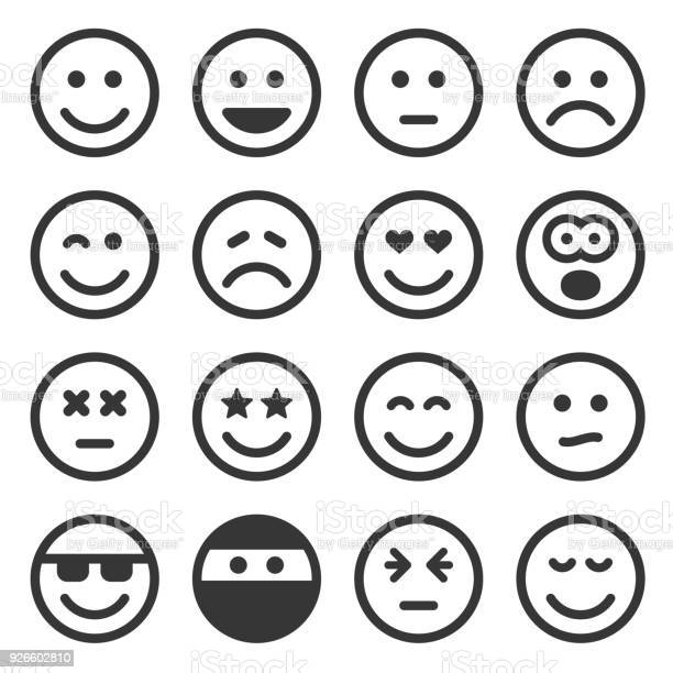 Monochrome smile icons set on white background vector vector id926602810?b=1&k=6&m=926602810&s=612x612&h=kxy8qwuelg83r0iuofmzrugauaesuivqkiafgtero3g=