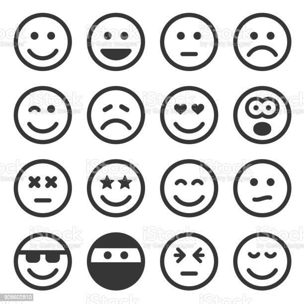 Monochroom Smile Icons Set Op Witte Achtergrond Vector Stockvectorkunst en meer beelden van Antropomorfische smiley