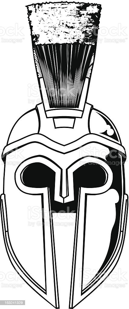 Monochrome Spartan Helmet Illustration Stock Vector Art More