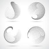 Monochrome Sphere,Half Tone Polka Dots Pattern Icon collection