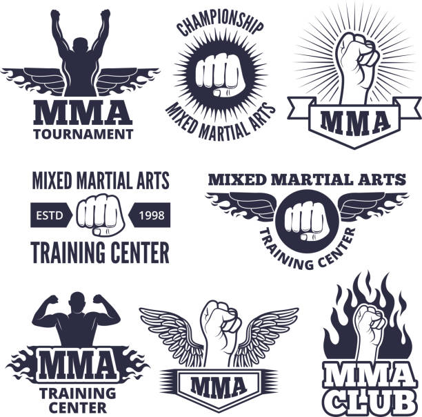 monochrome sport labels for mma fighters - martial arts stock illustrations