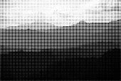 monochrome style mountain landscape halftone background
