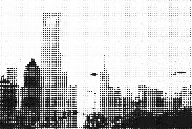 モノクロスタイル上海オフィスビルハーフトーン背景 - 都市 モノクロ点のイラスト素材/クリップアート素材/マンガ素材/アイコン素材
