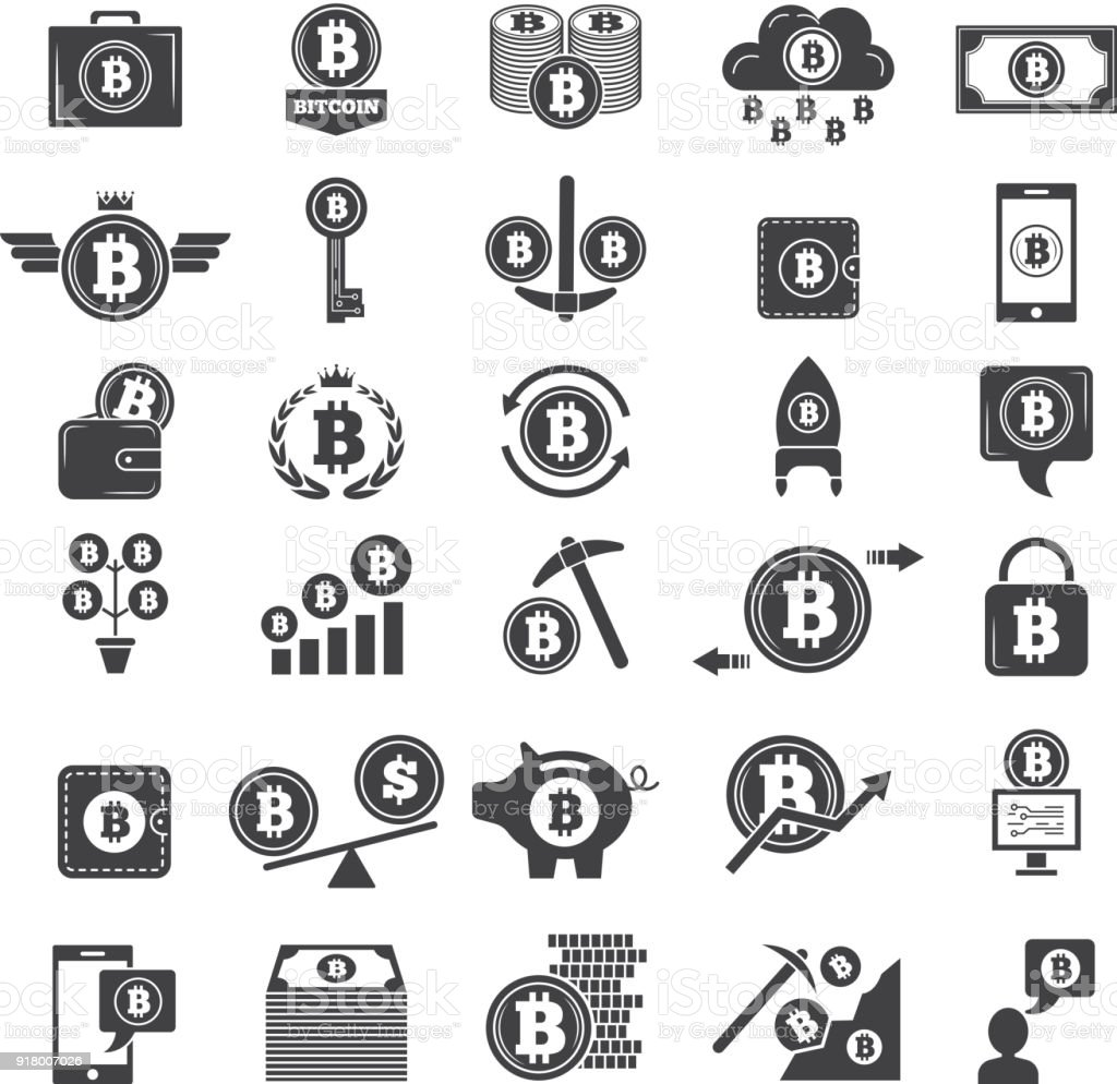 Monochrome Symbols Of Virtual Money Electronic Blockchain Industry