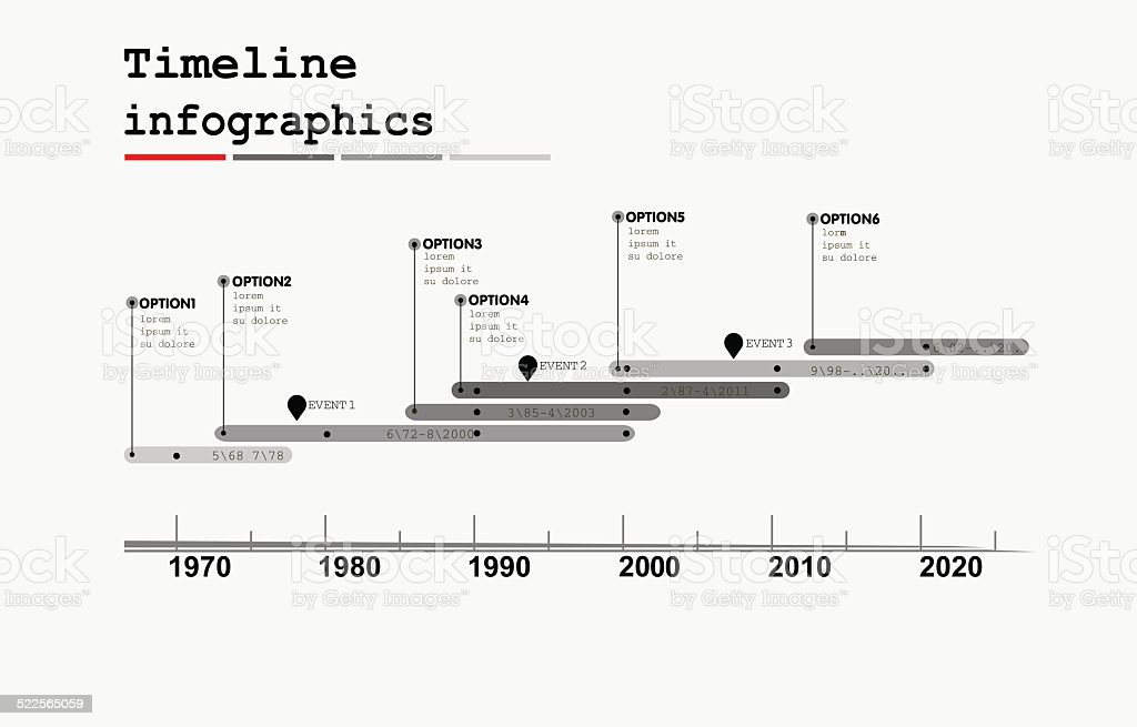 Monochrome Timeline Infographic , flat design style vector art illustration