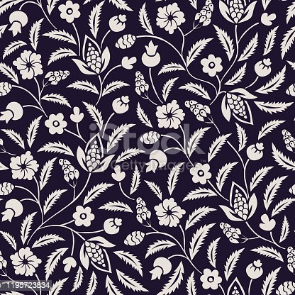 istock Monochrome Traditional Chintz Floral Vector Seamless Pattern. Black and White Classic Background 1195723834