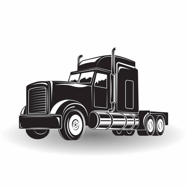 Monochrome truck icon Monochrome truck icon isolated on white background with shadow, vector semi truck stock illustrations