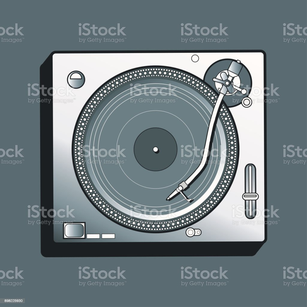 Monochrome turntable vector art illustration