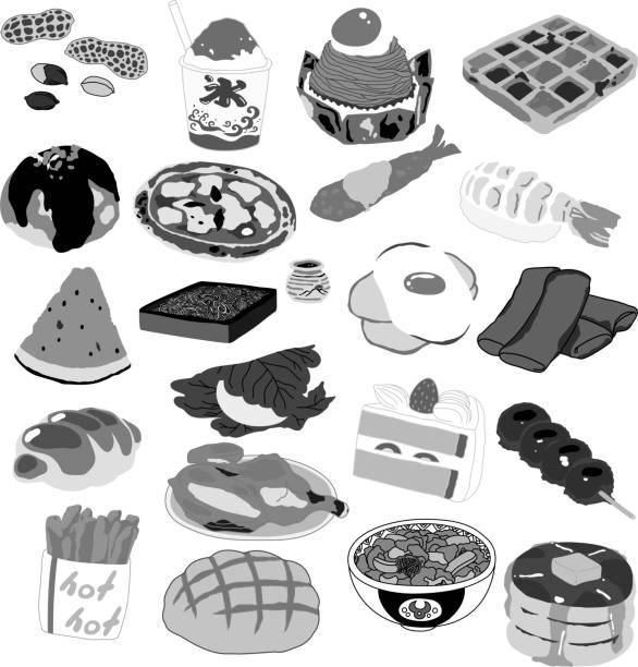 illustrazioni stock, clip art, cartoni animati e icone di tendenza di monochrome typical japanese food set - monte bianco