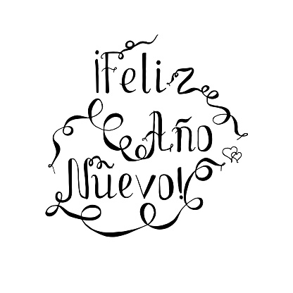 Monochrome typography banner lettering Feliz año nuevo, means Happy New Year in spanish language, swirls hand drawn lettering stock vector illustration