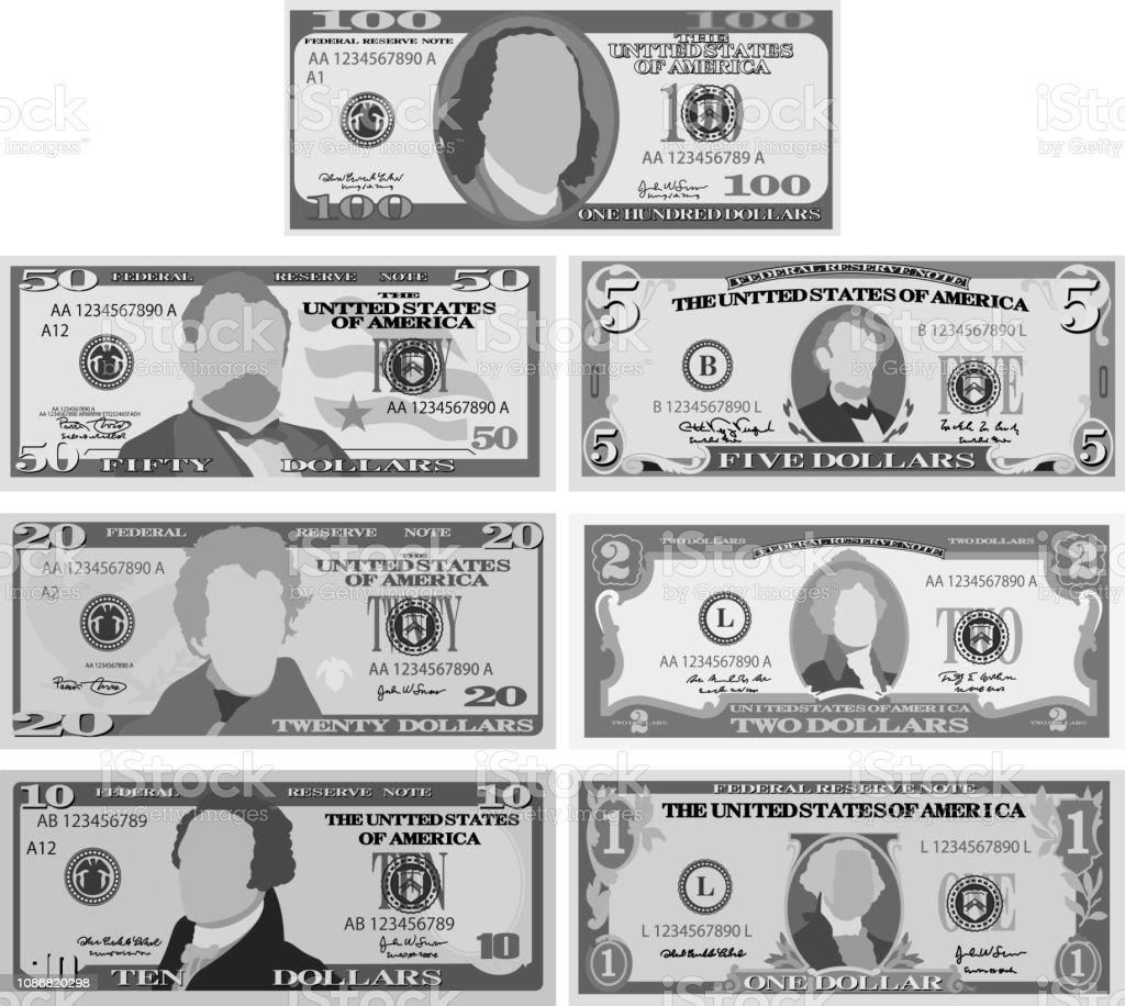 Monochrome US dollar banknote set vector art illustration