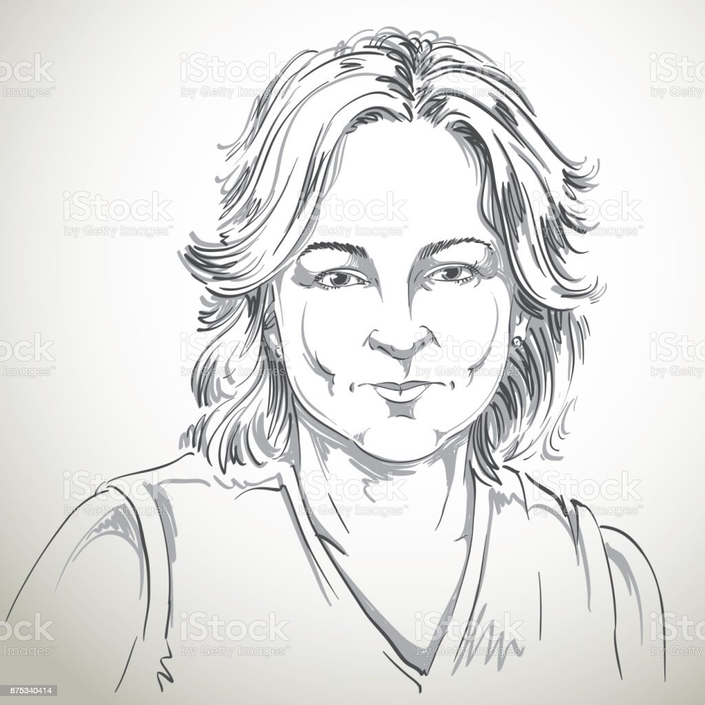 Monochrome vector hand-drawn image, still young woman with short hair. vector art illustration