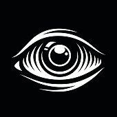Monochrome vector illustration of eye isolated on dark background