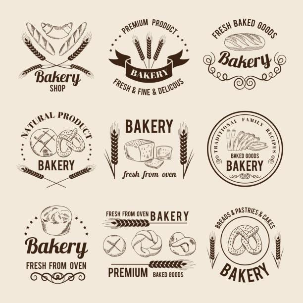 ベーカリー ショップのロゴやラベルのモノクロのベクトルを設定 - パン屋点のイラスト素材/クリップアート素材/マンガ素材/アイコン素材