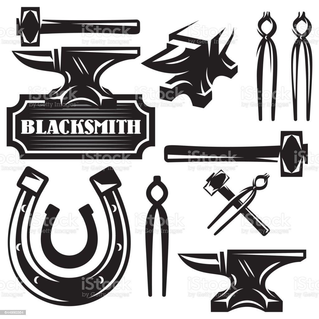 monochrome vector set of design elements for blacksmithing vector art illustration