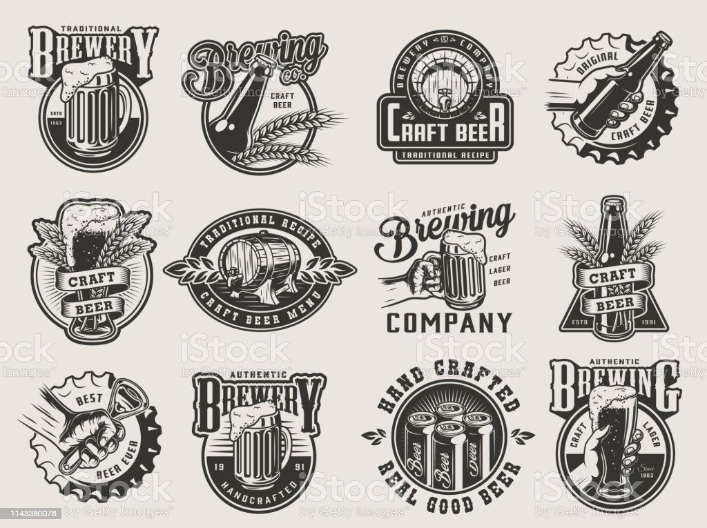 Emblemas de fabricação de cerveja do vintage monocromático - Vetor de Abridor de Garrafa royalty-free