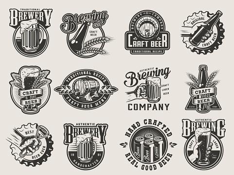Monochrome vintage brewing badges