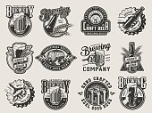 Monochrome vintage brewing badges with beer mug glass bottle cans wheat ears wooden casks bottle caps and opener isolated vector illustration