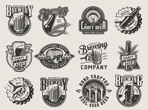Vetores de Emblemas De Fabricação De Cerveja Do Vintage Monocromático e mais imagens de Abridor de Garrafa