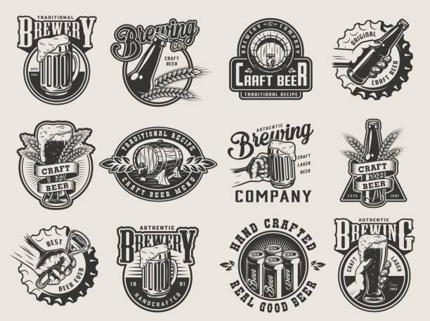 Monochrome vintage brewing badges Monochrome vintage brewing badges with beer mug glass bottle cans wheat ears wooden casks bottle caps and opener isolated vector illustration beer stock illustrations