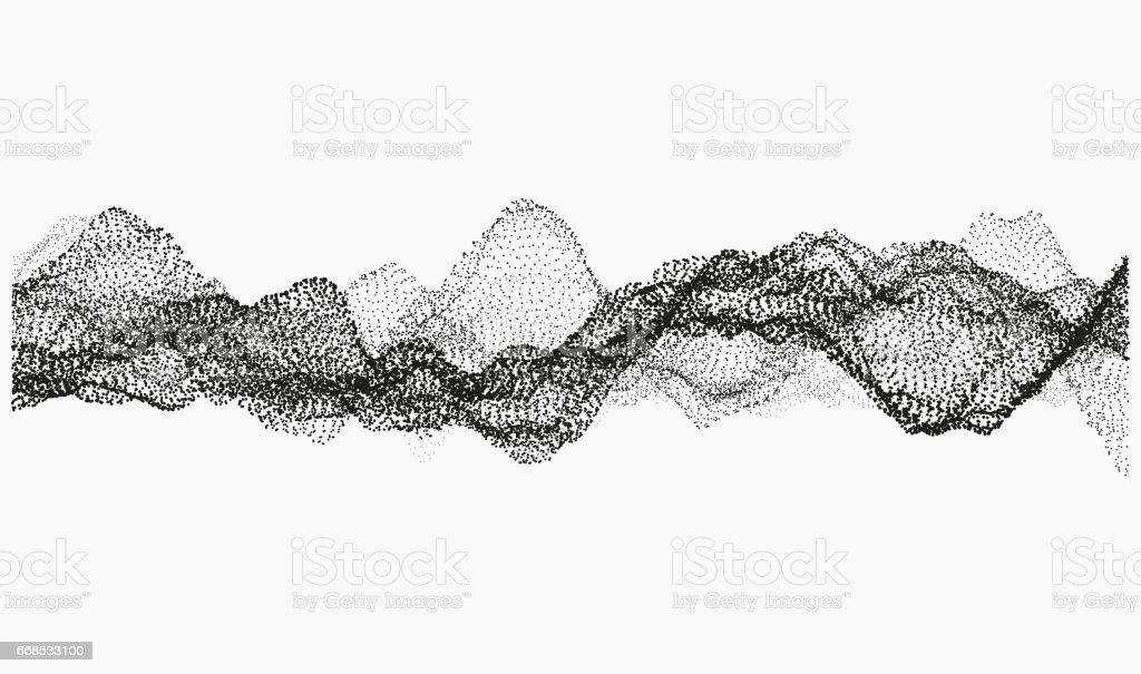Monochrome wavy structure vector art illustration