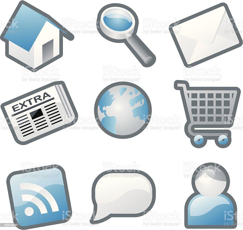 monochrome web icons - blue royalty-free stock vector art
