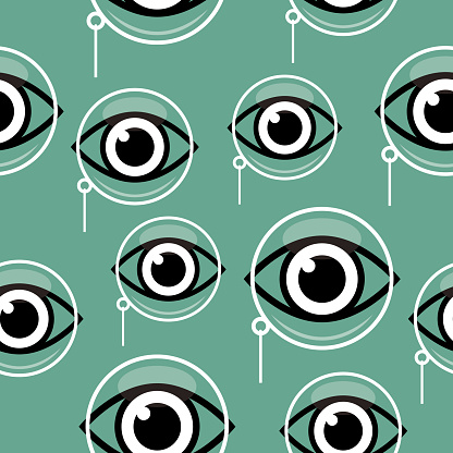 Monocles And Eyes Seamless Pattern