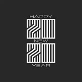 Monogram 2020 logo hipster number and text Happy New Year black and white colors, design element for typography banner or calendar cover
