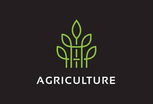 Monograma agricultura símbolo plantilla diseño Vector, emblema, concepto, símbolo creativo, icono - ilustración de arte vectorial