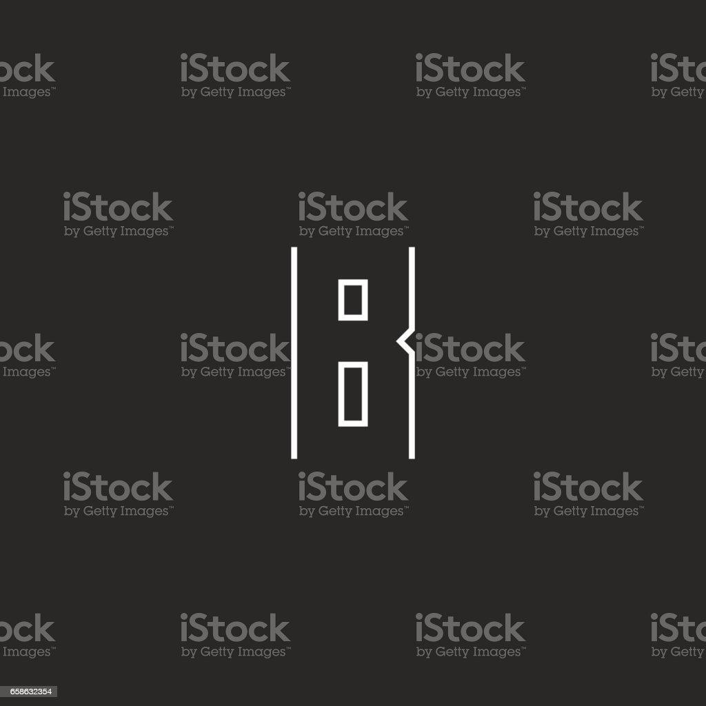 Monogram B harfi, modern hipster ince çizgi amblemi, siyah ve beyaz tasarım öğe şablonu vektör sanat illüstrasyonu