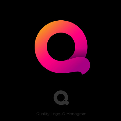 Q monogram. Beautiful letter Q consist of gradient ribbon with shadow.