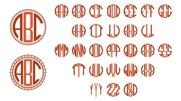 Monogram circle letters Monogram circle letters, Art Deco style alphabet borders stock illustrations