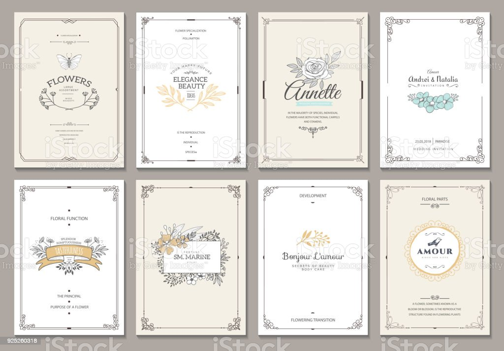 Monogram creative cards template vector art illustration