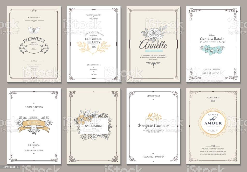 Bекторная иллюстрация Monogram creative cards template