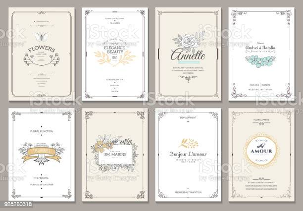 Monogram creative cards template with beautiful flourishes ornament elements. Elegant design for corporate identity, symbol, invitation. Design of background products.
