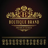 Monogram design elements, graceful template. Business gold emblem letter B